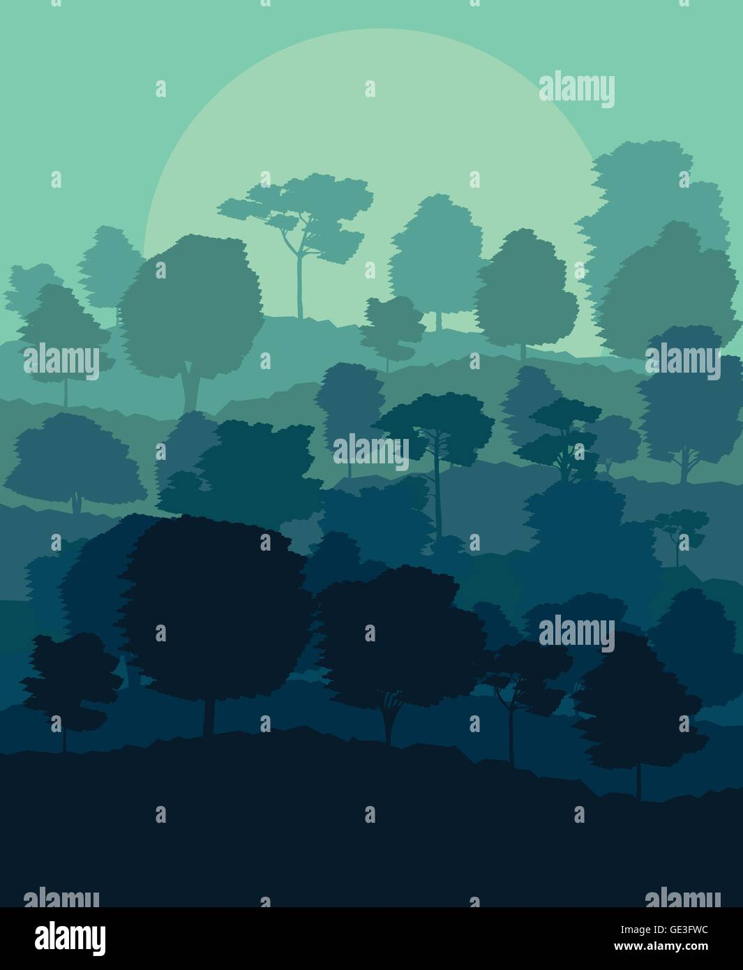 Mystical forest vector background landscape concept for poster Stock Vector