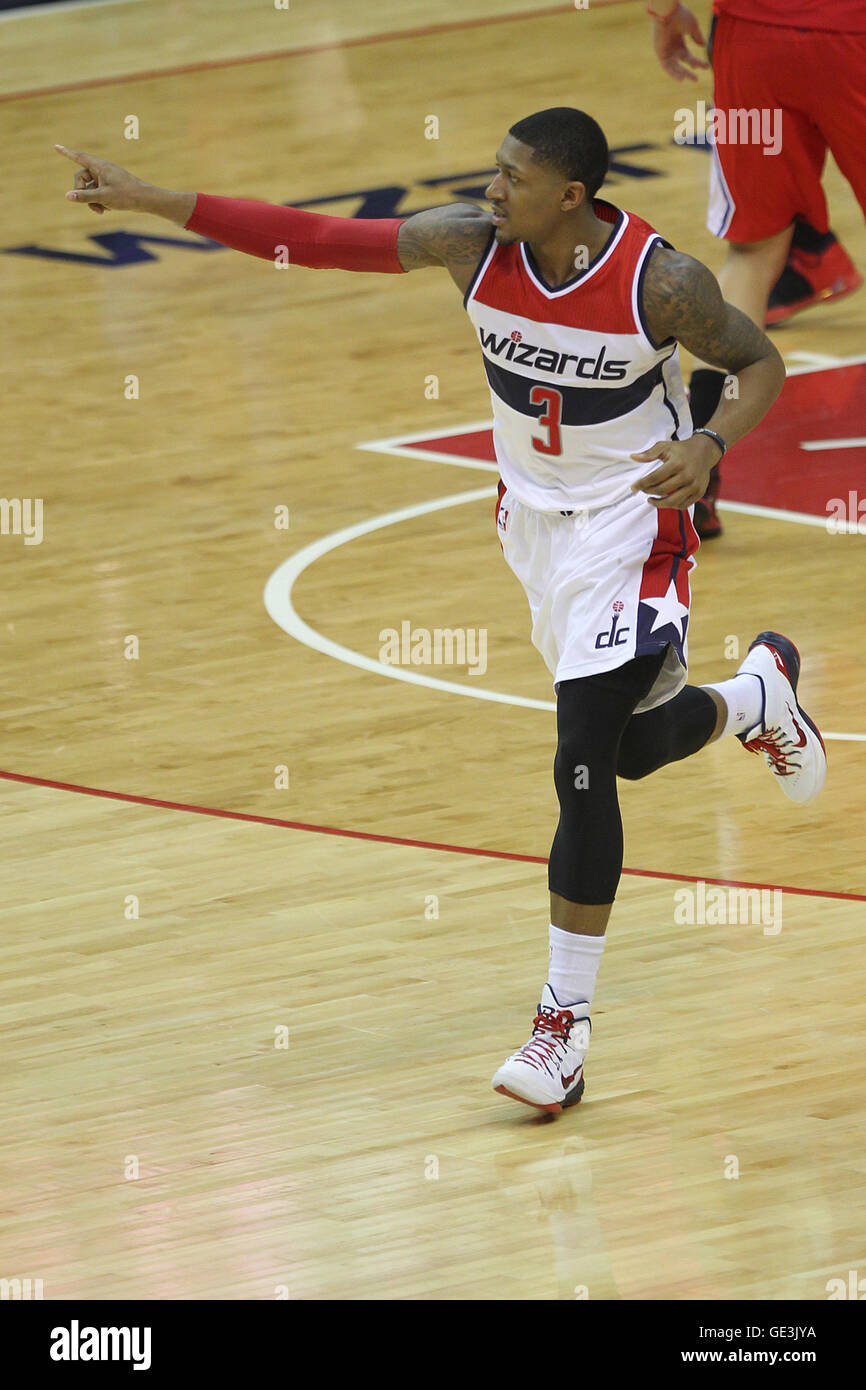 WASHINGTON, DC - DECEMBER 12: Bradley Beal pictured as the Washington Wizards beat the Los Angeles Clippers 104 - Stock Image