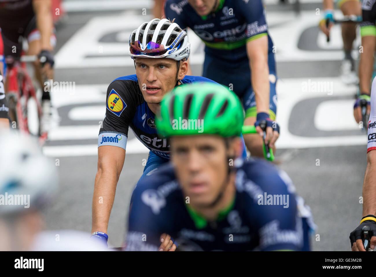 Tour de France. 22nd July, 2016. Saint-Gervais-les-Bains, FR. Marcel Kittel (Etixx-Quickstep) crosses the finish Stock Photo