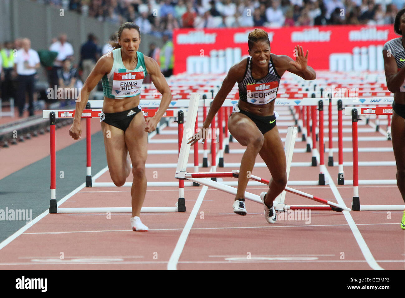 London, UK. 22nd July, 2016. IAAF Diamond League Anniversary Games. Ennis-Hill finishes third in the 100m Hurdles - Stock Image