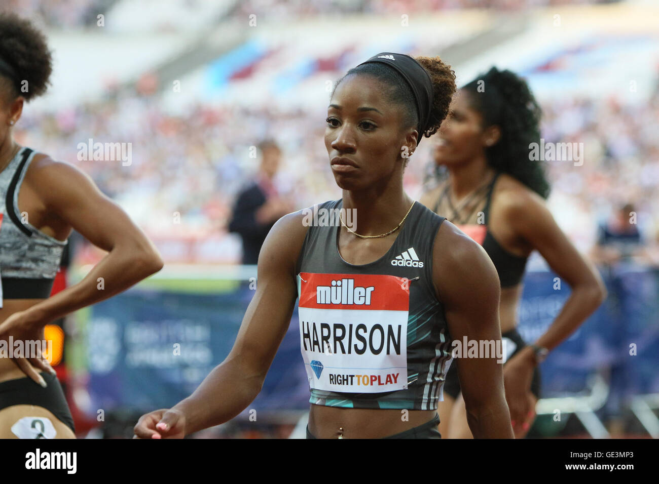 London, UK. 22nd July, 2016. IAAF Diamond League Anniversary Games. Harrison takes first place in the womens 100H - Stock Image