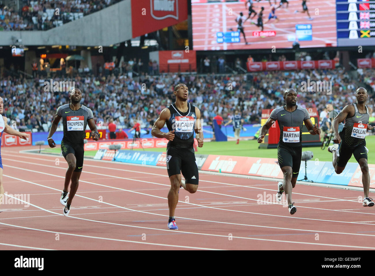 London, UK. 22nd July, 2016. IAAF Diamond League Anniversary Games. Vicount takes first place in the 100m mens heat. - Stock Image
