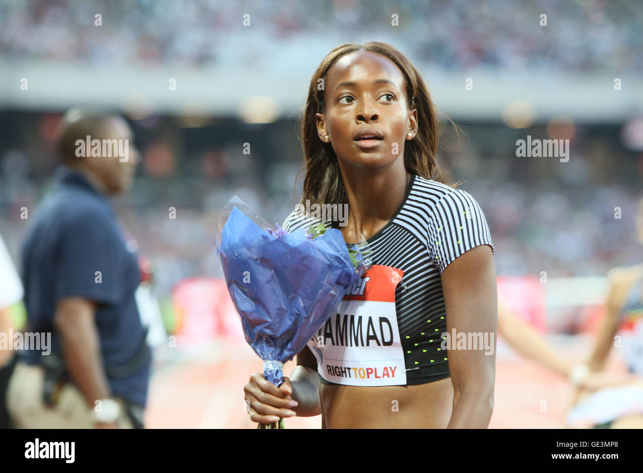 London, UK. 22nd July, 2016. IAAF Diamond League Anniversary Games. Muhammad takes first place in the womens 400m - Stock Image