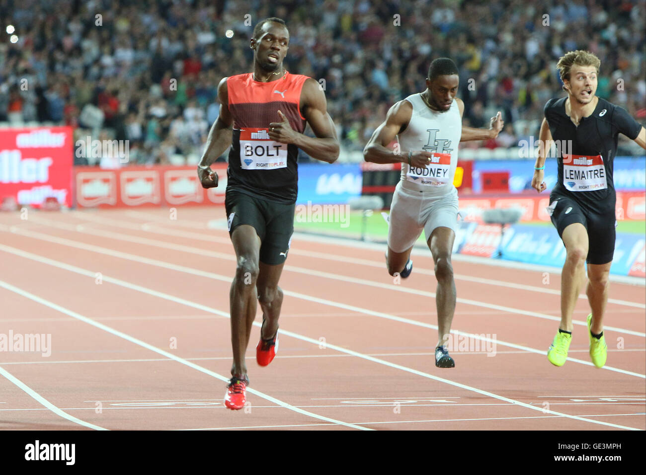 London, UK. 22nd July, 2016. IAAF Diamond League Anniversary Games.Usain Bolt takes first place in the mens 100m. - Stock Image