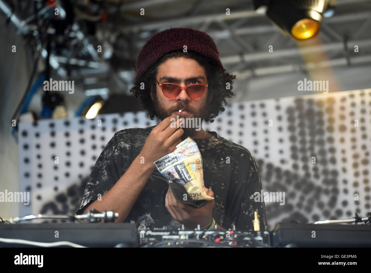 Duesseldorf, Germany. 22nd July, 2016. Noah Becker, son of tennis legend Boris Becker, DJ'ing at the fashion - Stock Image