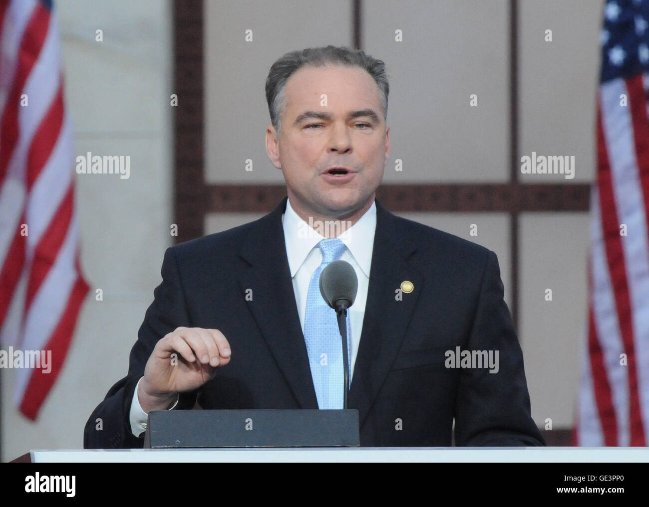 FILE - Denver, CO - August 28, 2008 -- Governor Tim Kaine of Virginia speaks on day 4 of the 2008 Democratic National - Stock Image