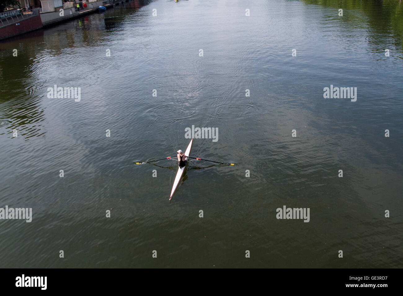 Kingston London,UK. 23rd July 2016. Rowing boats practice on River Thames in Kingston on a beautiful warm sunny Stock Photo