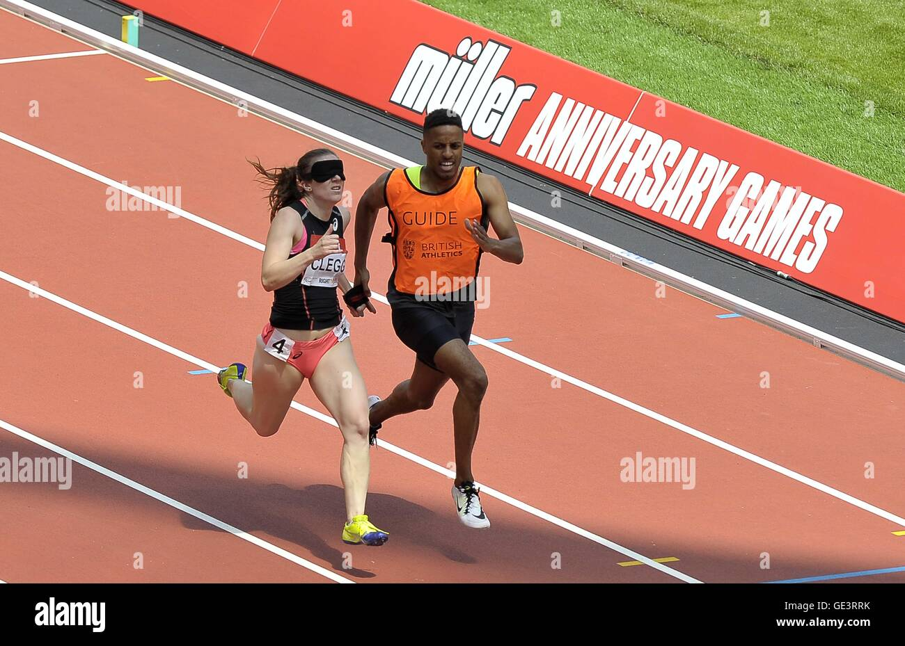 London, UK. 23rd July, 2016. Libby Clegg (GBR) and her guide Ryan Asquith in the womens 200m T11/12. Anniversary Stock Photo