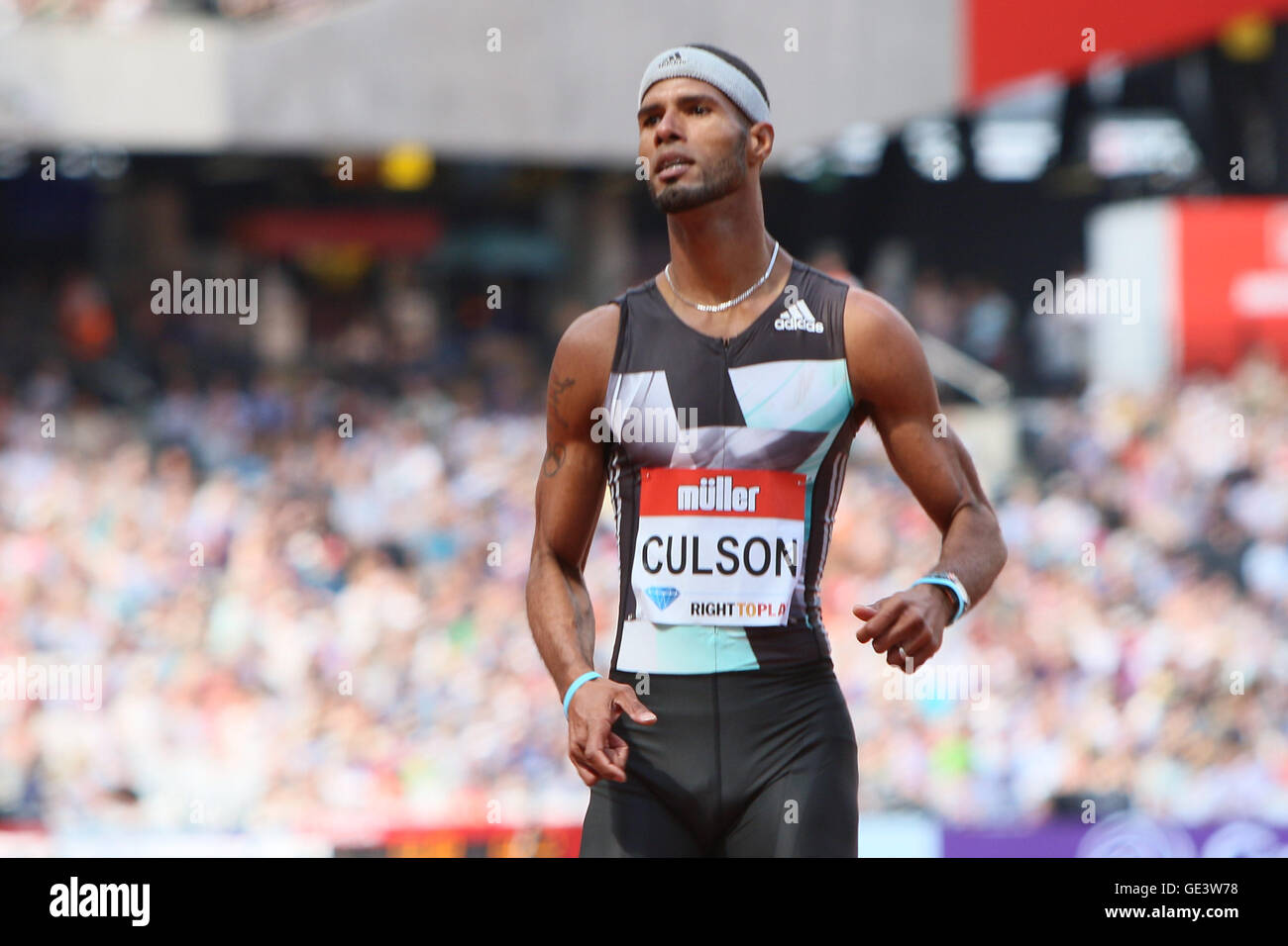 London, UK. 23rd July 2016. London, UK. IAAF Diamond Leauge Anniversary Games. Javier Culson takes second place - Stock Image