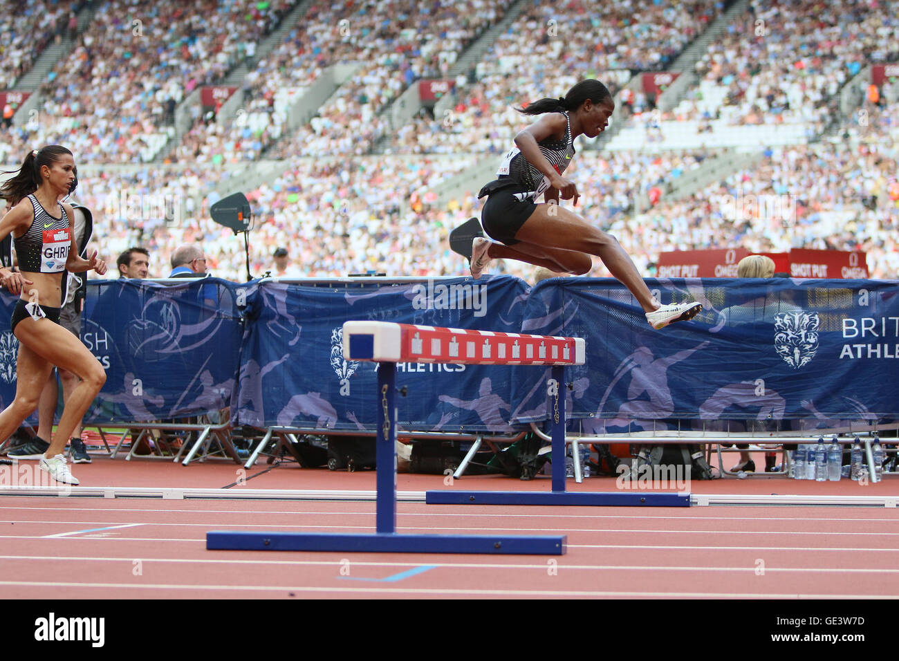 London, UK. 23rd July 2016. London, UK. IAAF Diamond Leauge Anniversary Games. Habiba Ghribi takes first place in - Stock Image