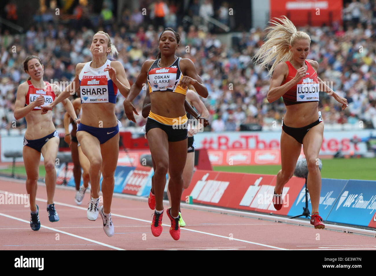 London, UK. 23rd July 2016. London, UK. IAAF Diamond Leauge Anniversary Games. Lynsey Sharp finishes in second in - Stock Image