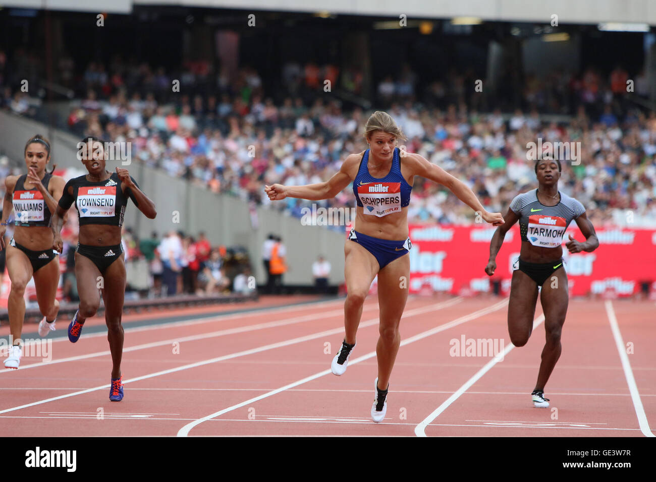 London, UK. 23rd July 2016. London, UK. IAAF Diamond Leauge Anniversary Games. Dafne Schippers takes first place - Stock Image