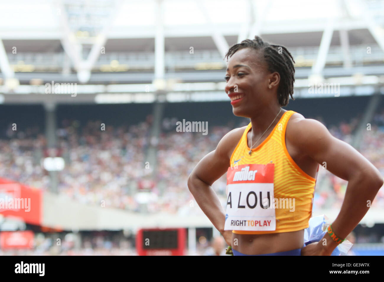 London, UK. 23rd July 2016. London, UK. IAAF Diamond Leauge Anniversary Games. Marie-Josee takes first place in - Stock Image