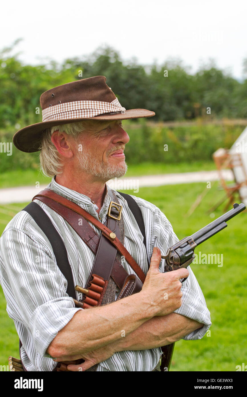 Tutbury Castle, Staffordshire, UK.  23-07-2016.  Anglo-Boer War group bring Tutbury Castle to life on Saturday 23rd - Stock Image