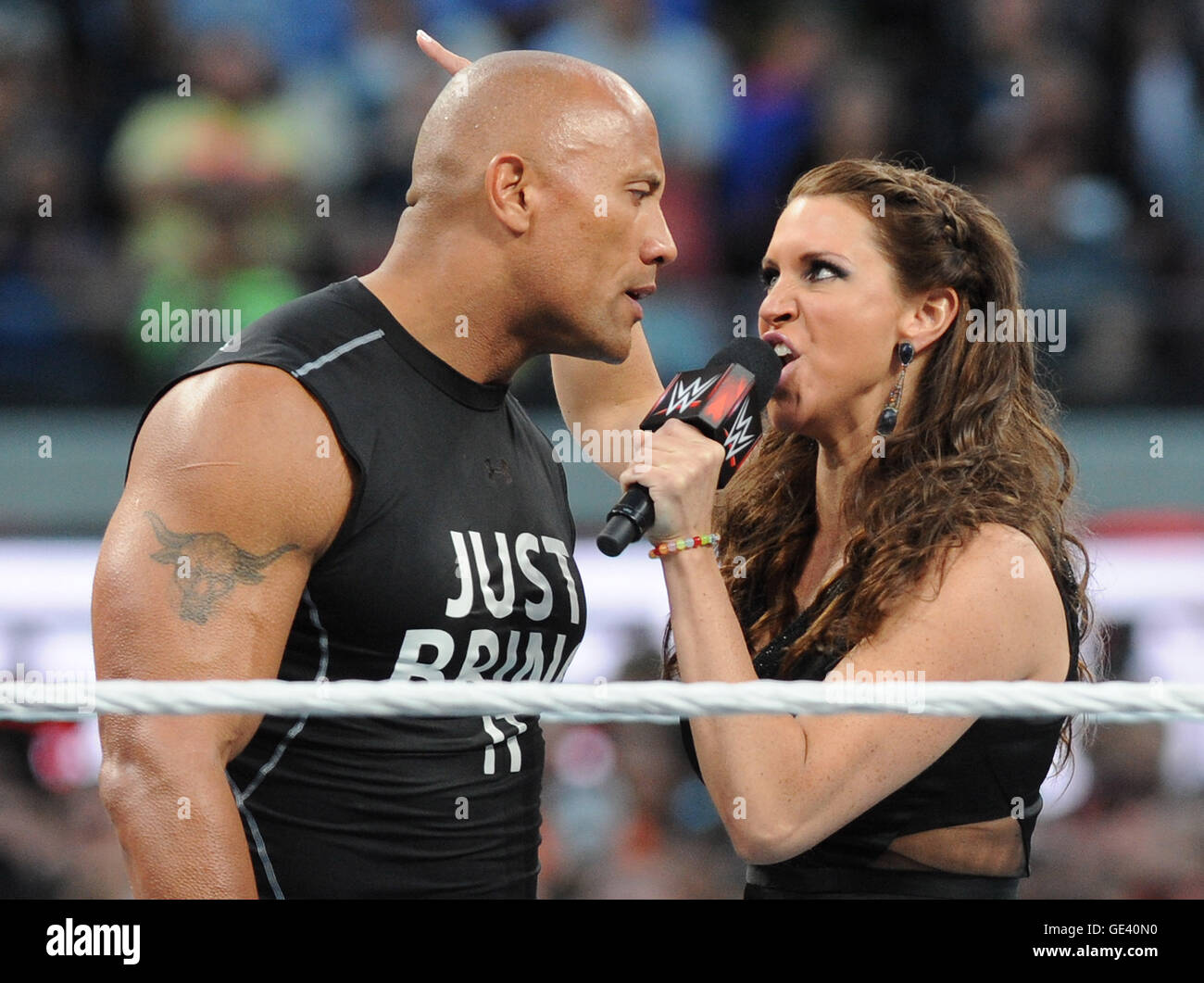 Santa Clara, Ca-  March 29: Dwayne 'The Rock' Johnson is confronted by Stephanie McMahon at Wrestlemania - Stock Image