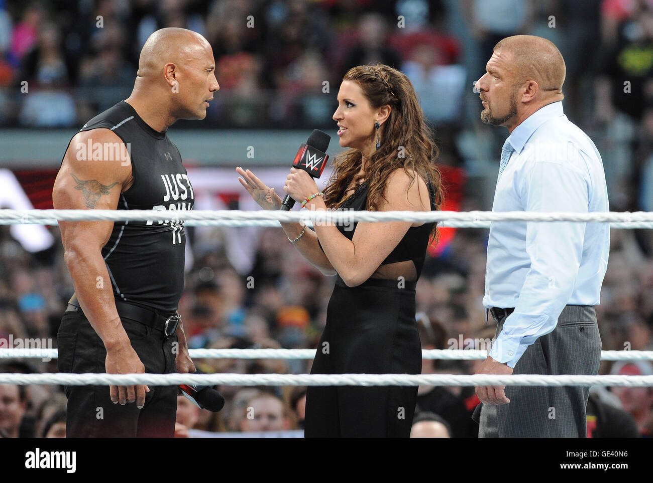 Santa Clara, Ca-  March 29: Dwayne 'The Rock' Johnson is confronted by Stephanie McMahon and Triple H at - Stock Image