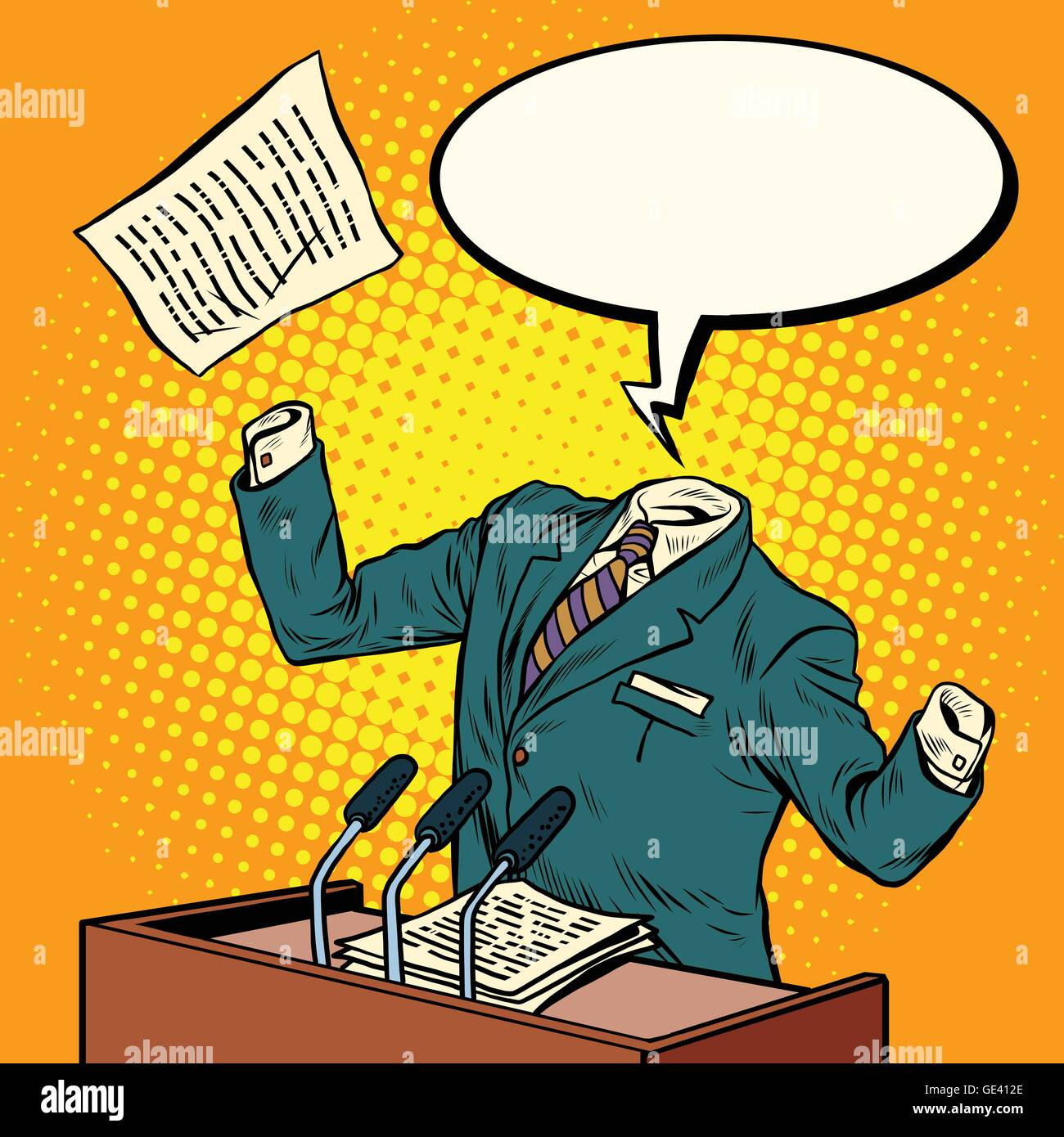 Invisible speaker speaks at the podium - Stock Vector