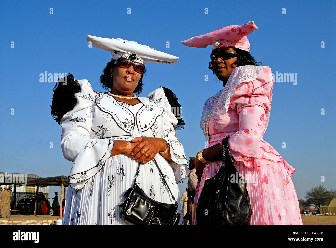 people, women, convention of the Herero on the last weekend in August in Okahandja to remember their dead ancestors, - Stock Image