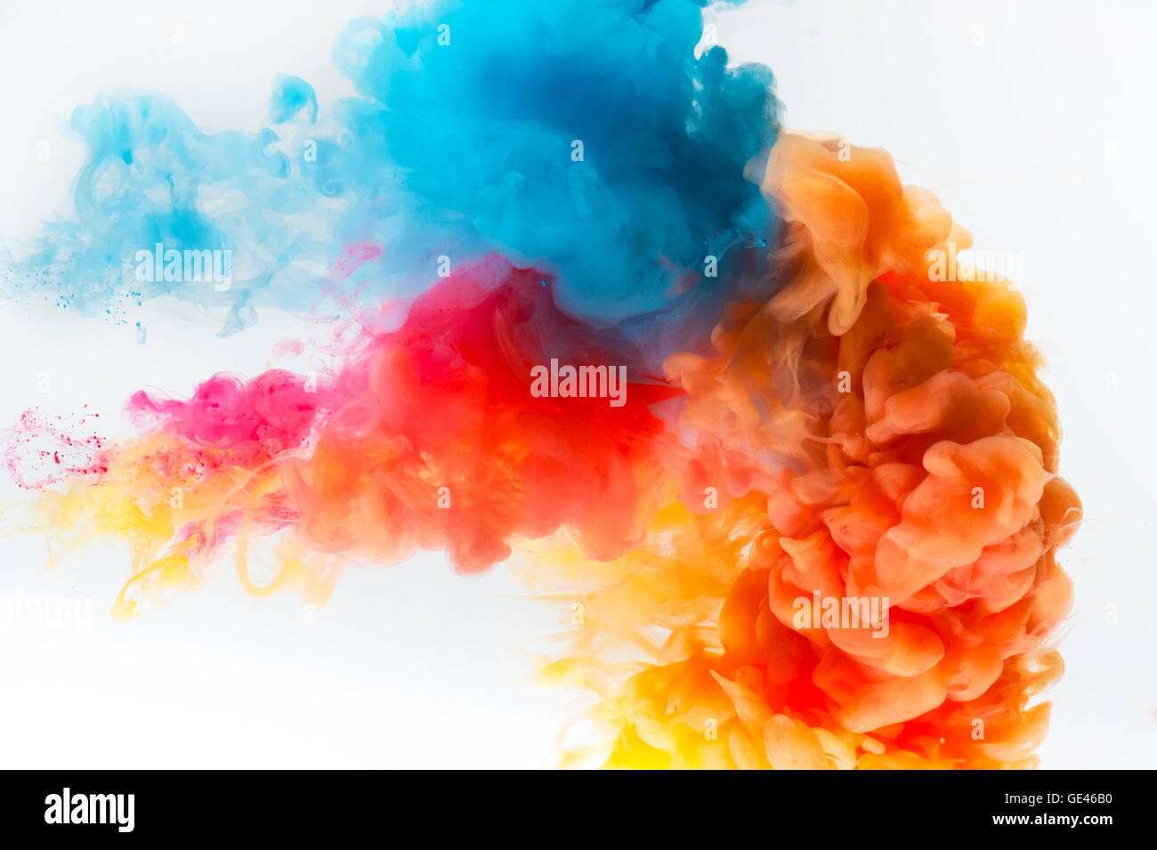 Red Yellow And Blue Colors Paint Splash On A White Background Stock