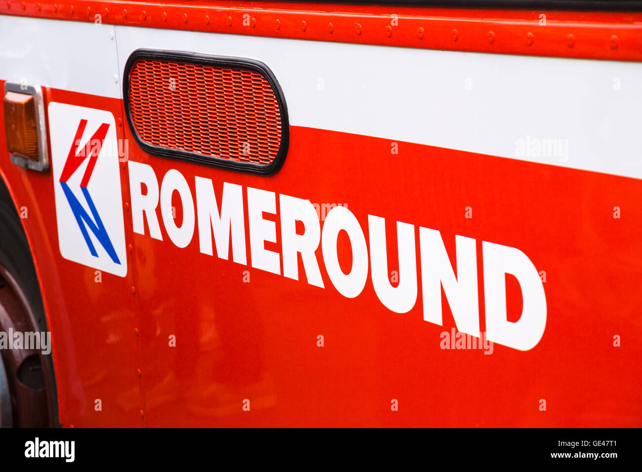 Romeround and logo on side of old bus at Poole to celebrate Hants & Dorset (More Bus) centenary in July - Stock Image