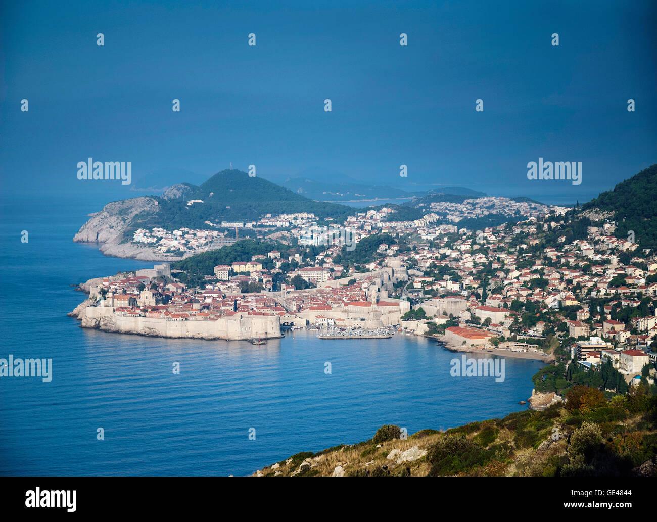 dubrovnik old town view and adriatic coast in croatia balkans - Stock Image