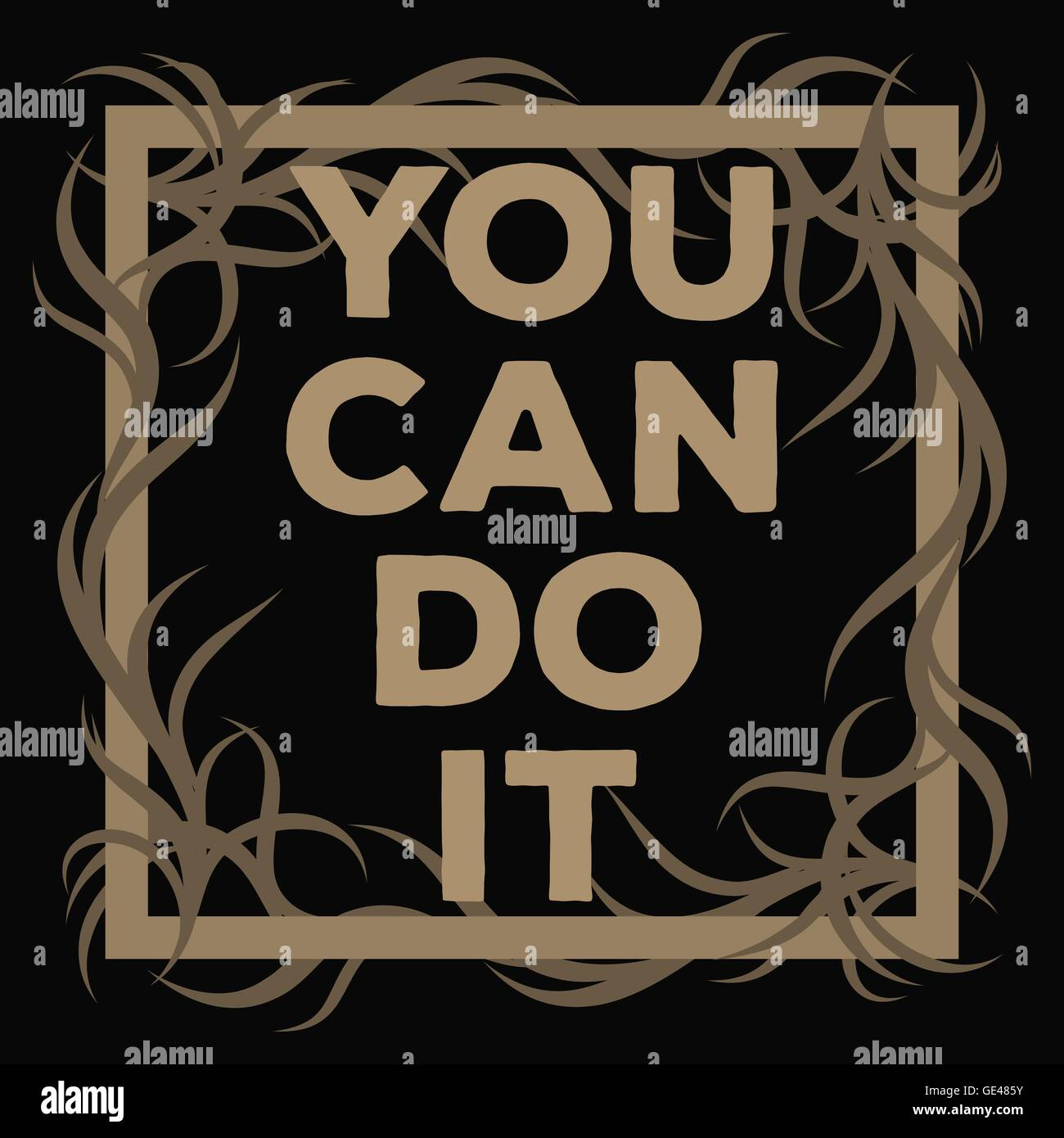 You Can Do It motivation square acrylic stroke poster. Text lettering of an inspirational saying. Quote Typographical - Stock Image