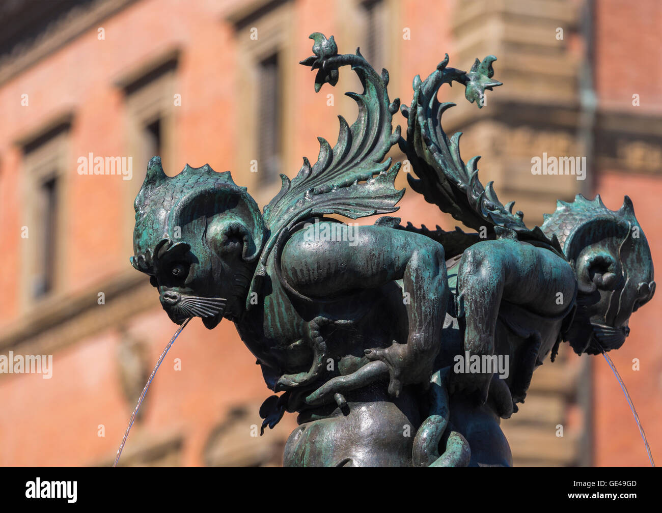 Florence, Florence Province, Tuscany, Italy.  Piazza della Santissima Annunziata.  Detail of fountain - Stock Image