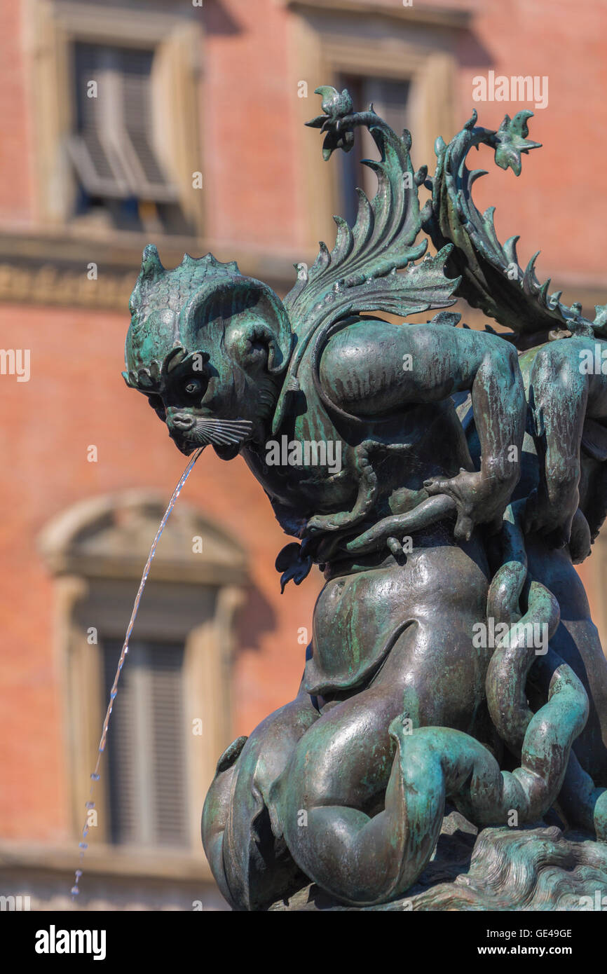 Florence, Florence Province, Tuscany, Italy.  Piazza della Santissima Annunziata.  Detail of fountain. - Stock Image