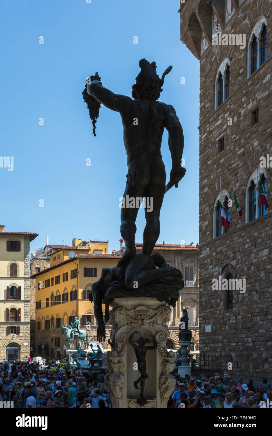 Florence, Florence Province, Tuscany, Italy.  Piazza della Signoria.  Statue of Perseus with the Head of Medusa - Stock Image