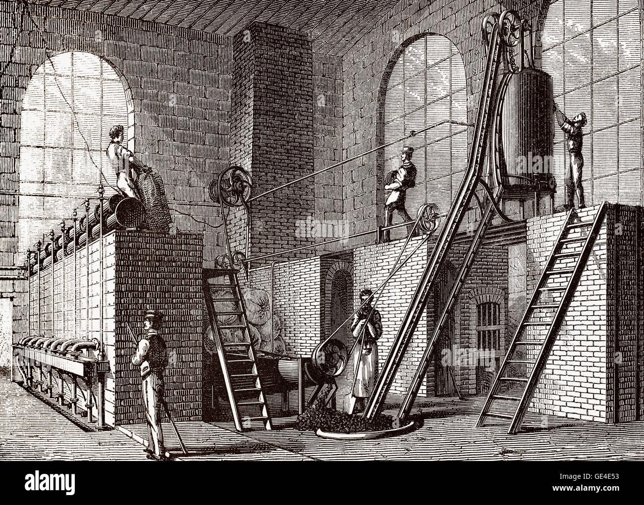 A Sugar beet refinery, 19th century - Stock Image