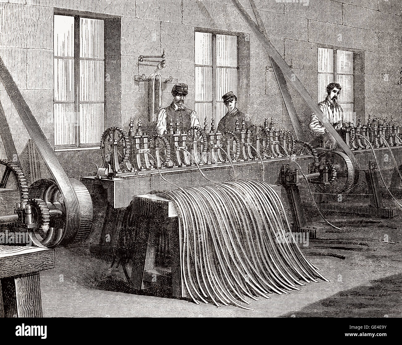 A cartridge case production, arms industry, France, 19th century - Stock Image