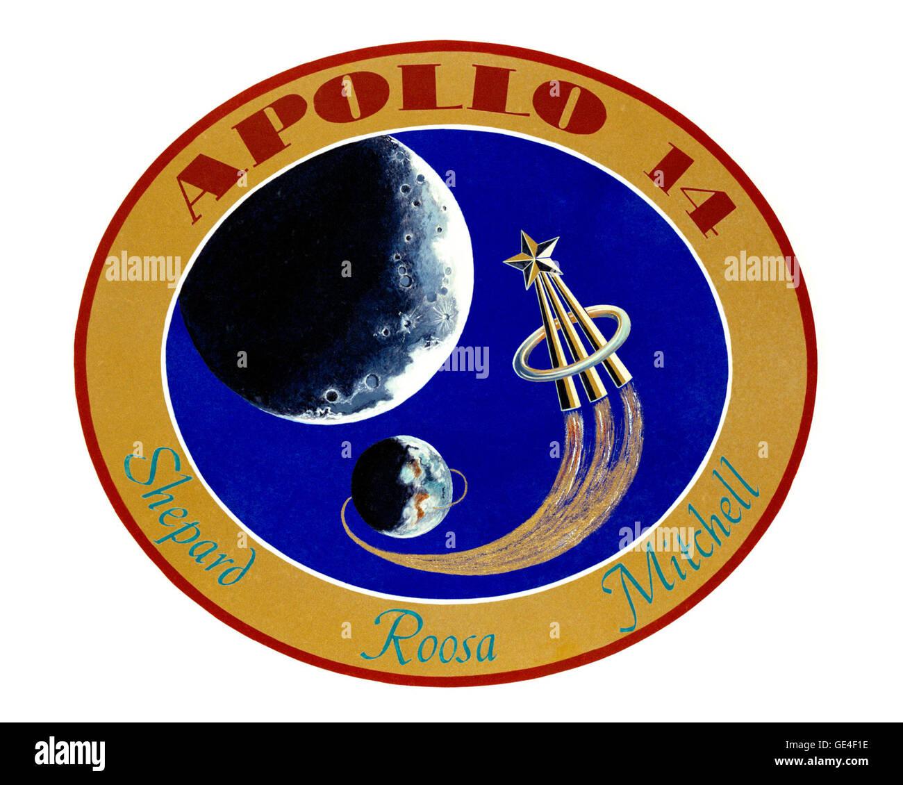 Launch- January 31, 1971  Landing- February 9, 1971 Astronauts- Alan B. Shepard Jr., Edgar D. Mitchell and Stuart - Stock Image