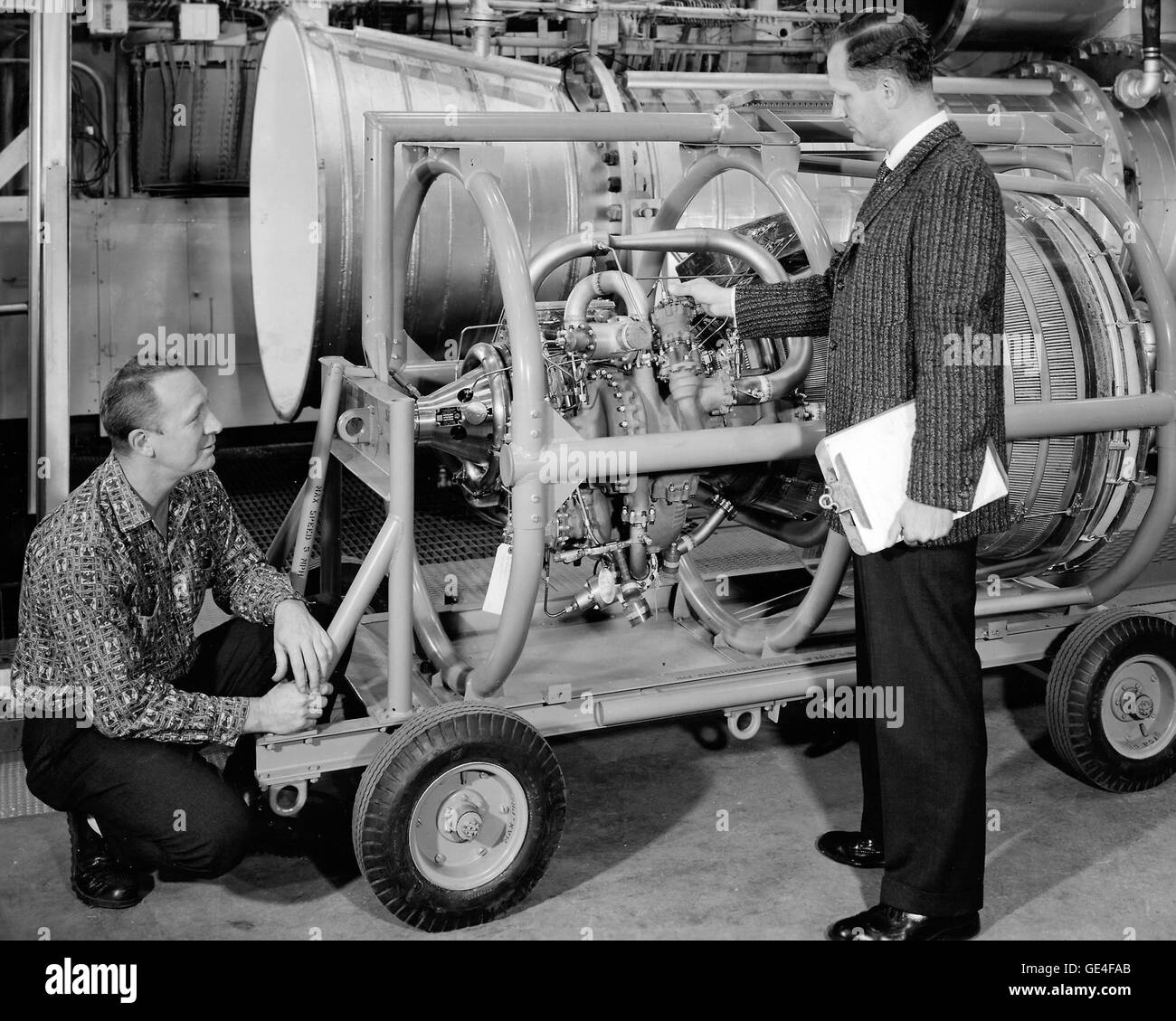 The Centaur upper stage rocket being developed in the 1960s at the Propulsion Systems Laboratory at Lewis Research - Stock Image