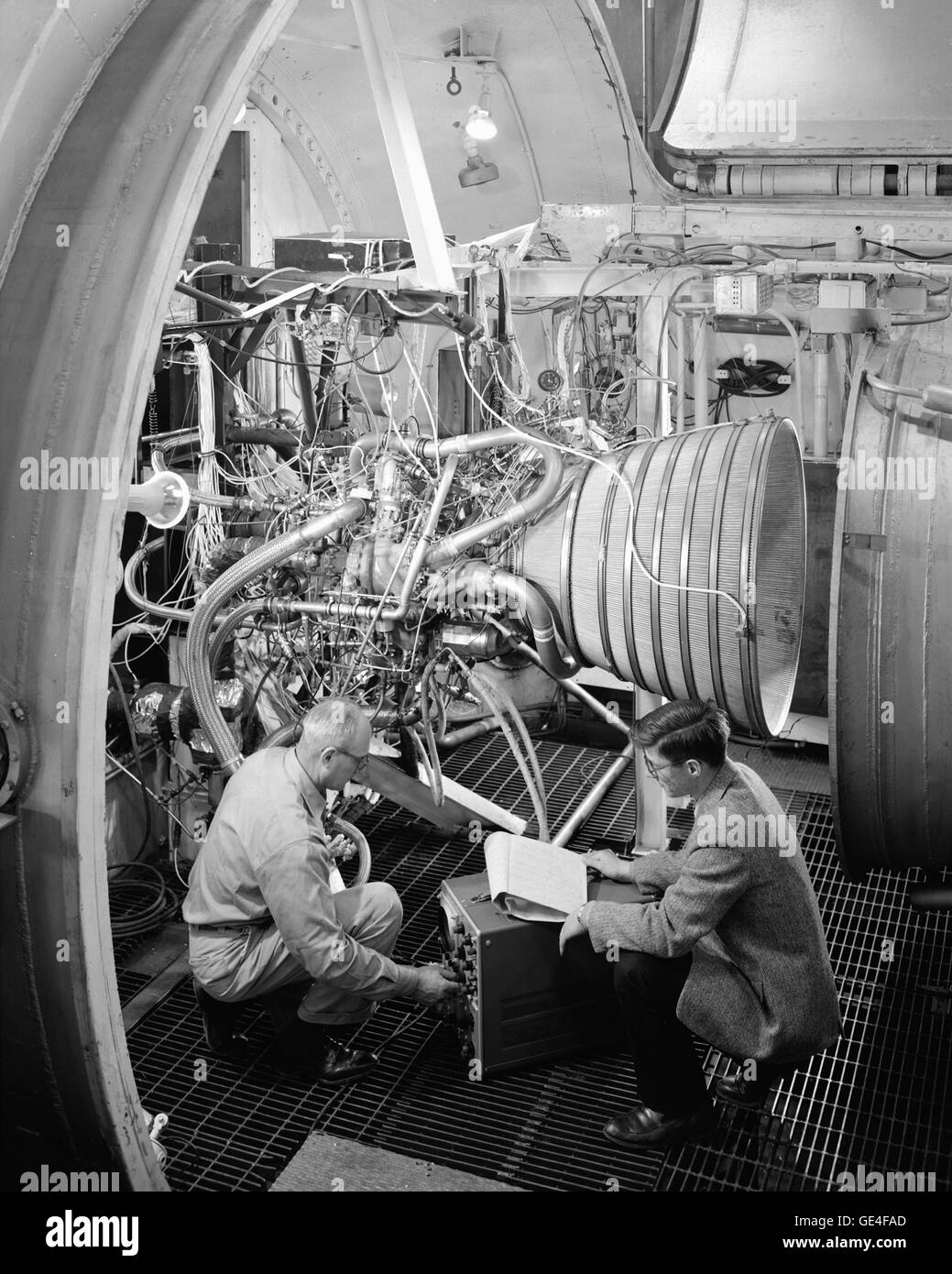 Centaur Rocket Installation in PSL - Propulsion Systems Laboratory #1. The RL-10 Rocket was developed by Pratt and - Stock Image