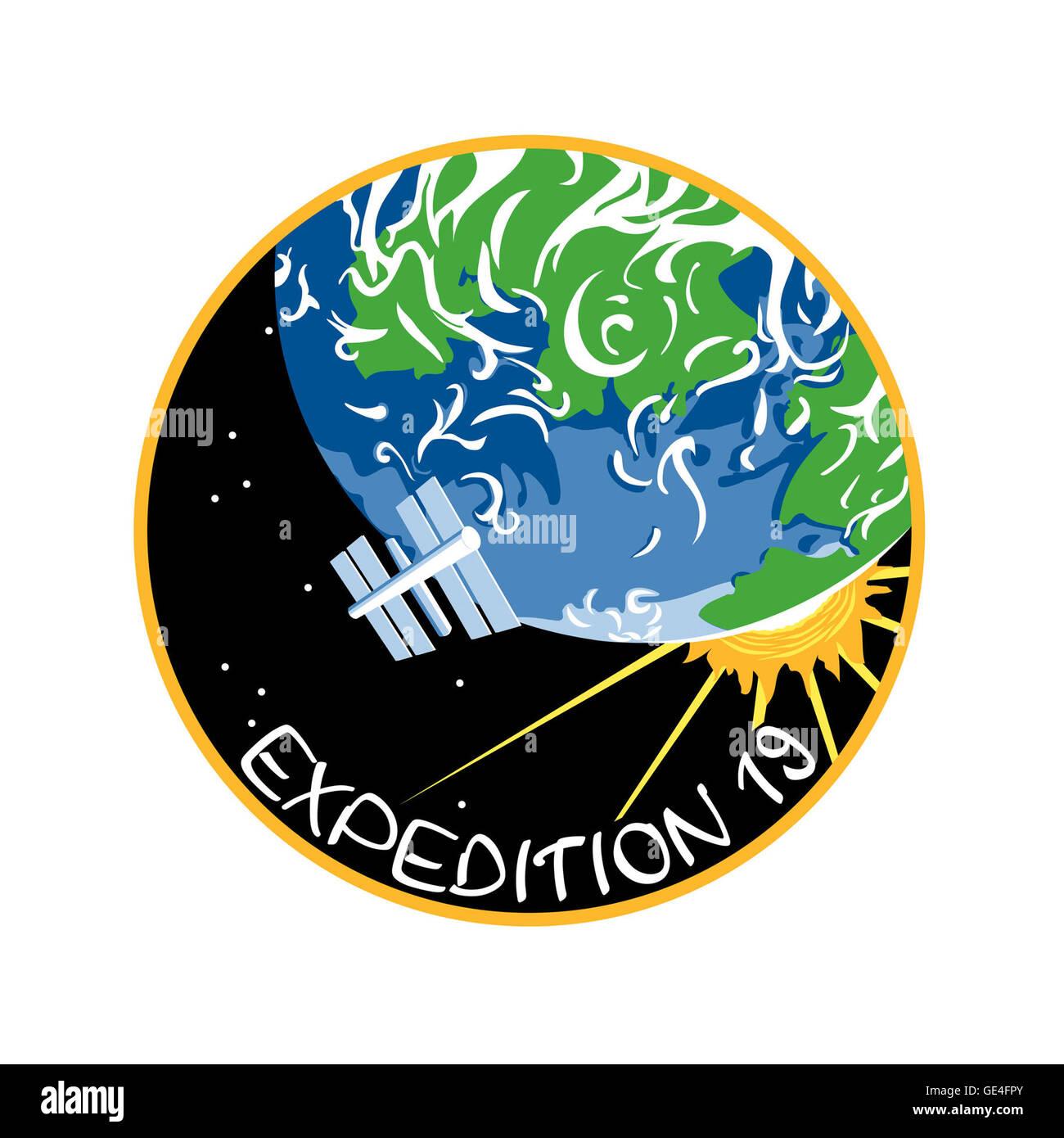 Launch: Soyuz TMA-14 March 26, 2009 Landing: May 29, 2009 Astronauts: Gennady Padalka, Michael Barratt and Koichi - Stock Image