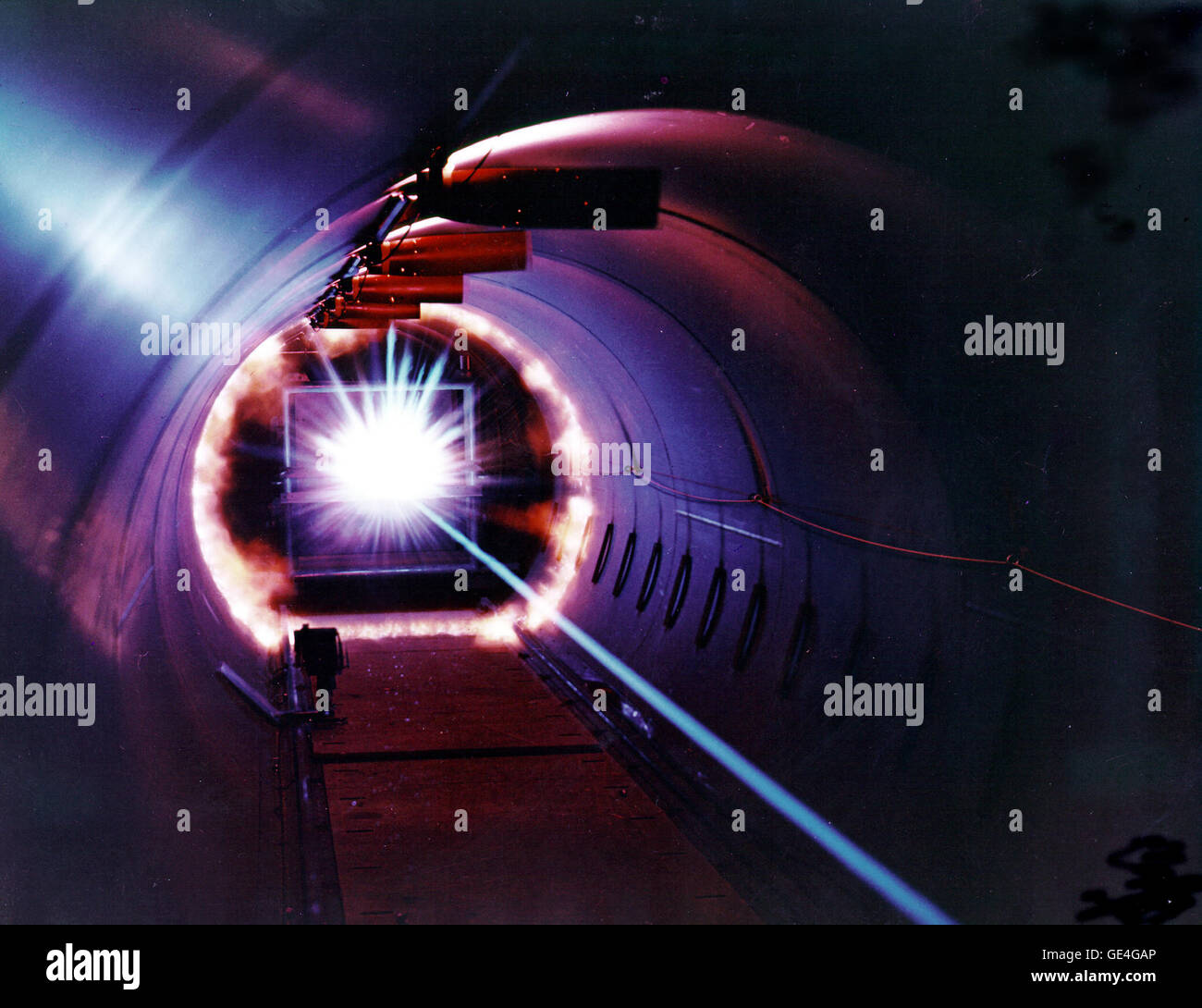 "The photo shows the ""energy flash"" when a projectile launched at speeds up to 17,000 mph impacts - Stock Image"