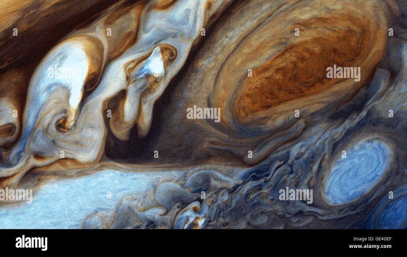 At about 89,000 miles in diameter, Jupiter could swallow 1,000 Earths. It is the largest planet in the solar system - Stock Image