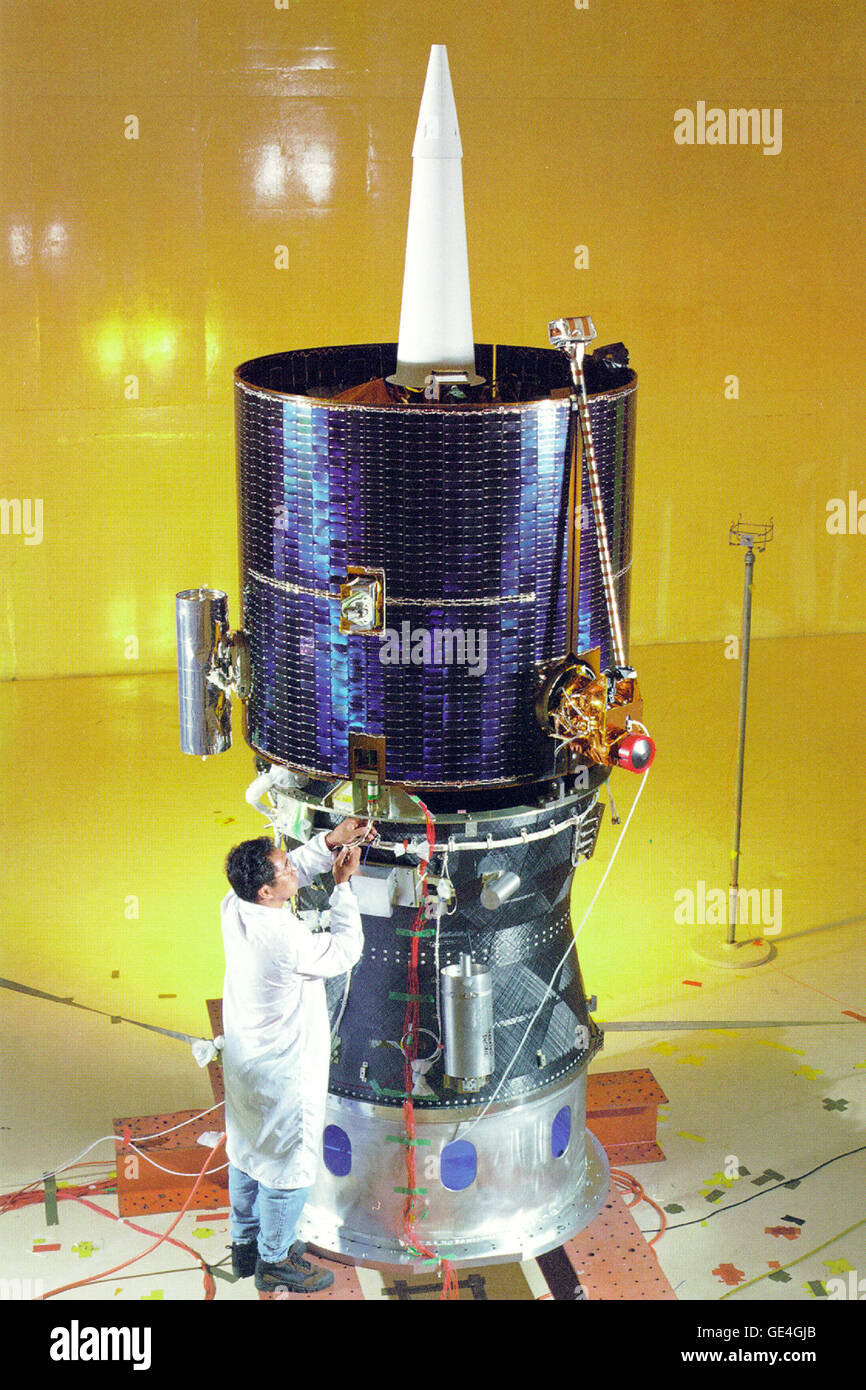 The fully assembled Lunar Prospector spacecraft is shown mated atop the Star 37 Trans Lunar Injection module. Lunar - Stock Image