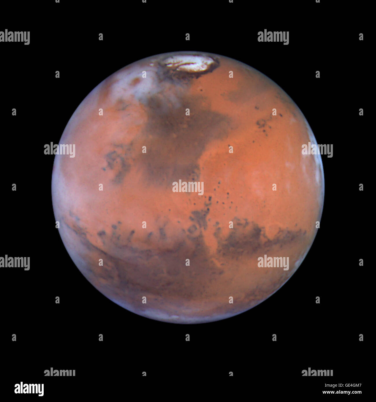 Taking advantage of Mars's closest approach to Earth in eight years, astronomers using NASA's Hubble Space Telescope Stock Photo