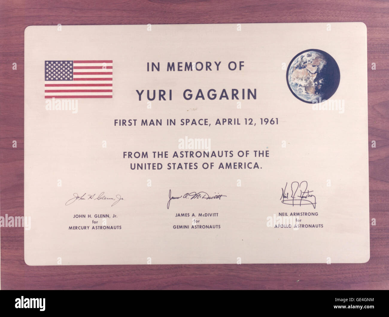 Dr. George M. Low, acting administrator of NASA, presented to the USSR on January 21, 1971, a plaque in memory of - Stock Image
