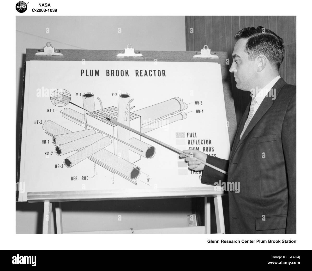 A Plum Brook representative explains a diagram showing the main elements of the Plum Brook reactor core. The numerous - Stock Image