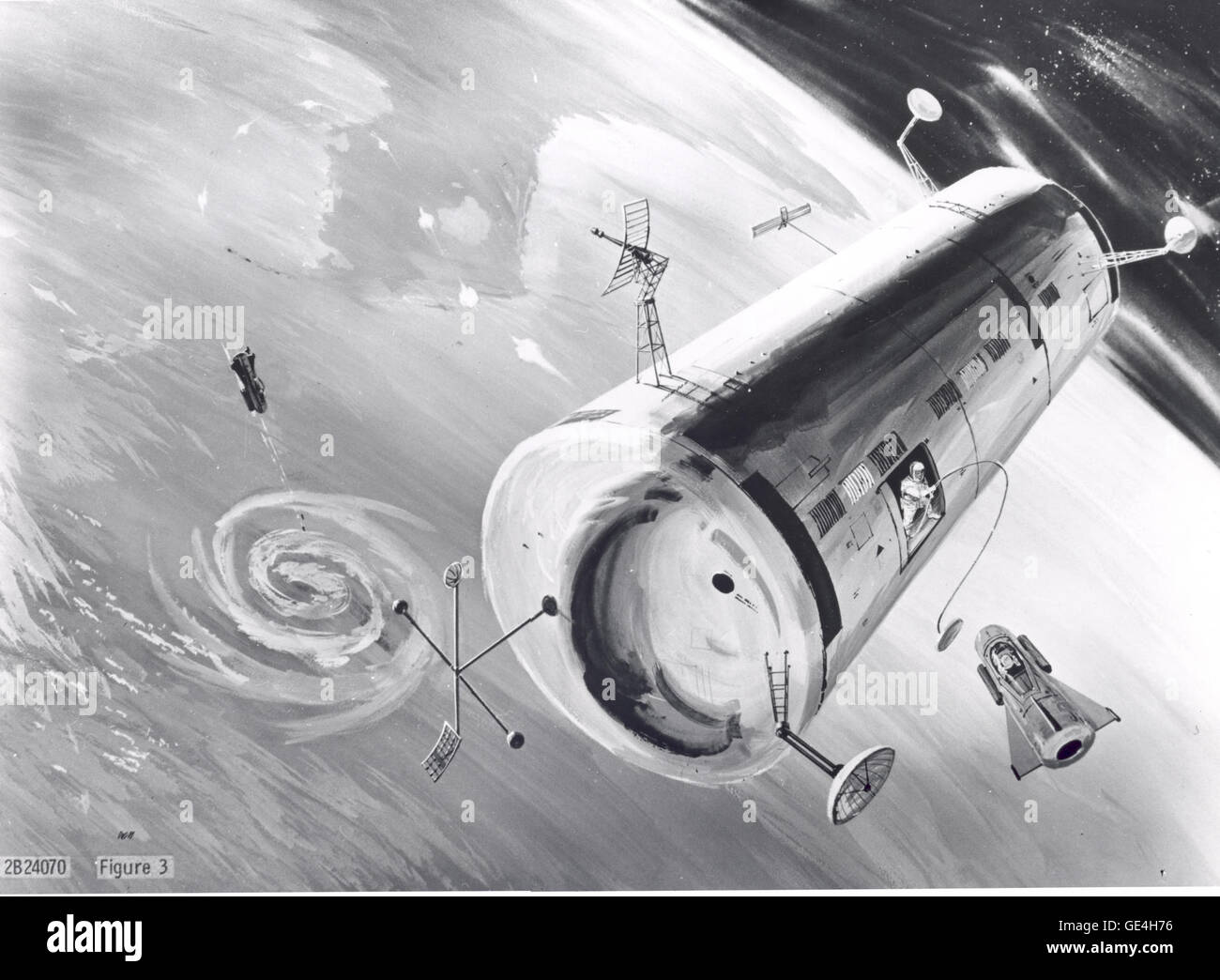 A 1960 concept image of the United States Air Force's proposed Manned Orbiting Laboratory (MOL) that was intended - Stock Image