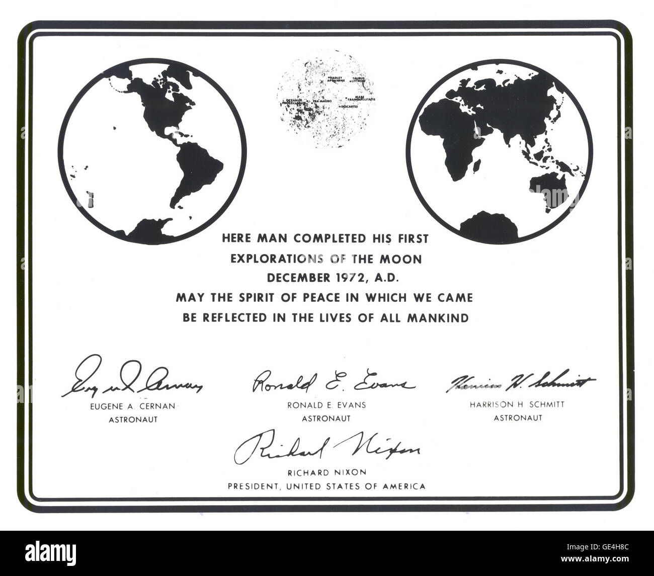(December 12, 1972) This image is a photographic replica of the plaque that the Apollo 17 astronauts left on the - Stock Image