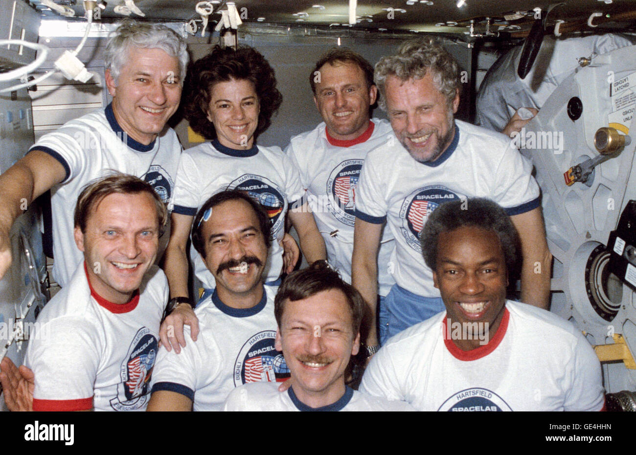 (October 30, 1985) This traditional in-flight portrait of all eight STS-61A crew members features (From left to - Stock Image