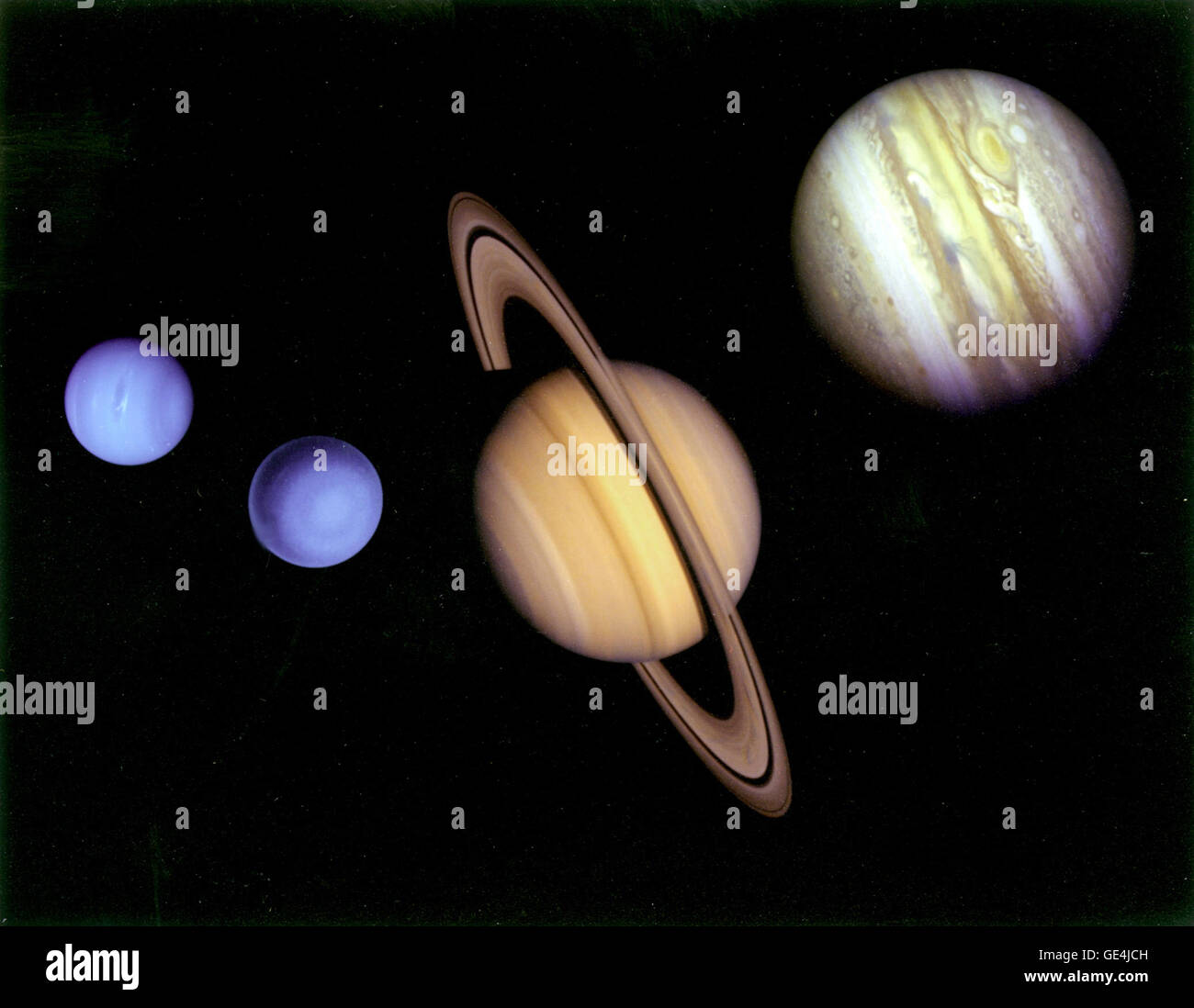 This montage of images of the planets visited by Voyager 2 was prepared from an assemblage of images taken by the - Stock Image