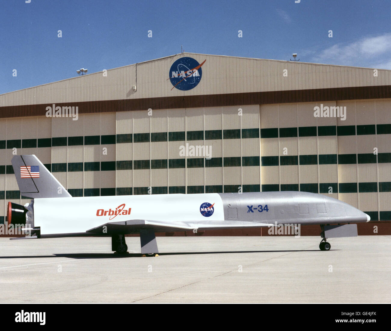(April 16, 1999) This is the X-34 Technology Testbed Demonstrator being delivered to NASA Dryden Flight Research - Stock Image
