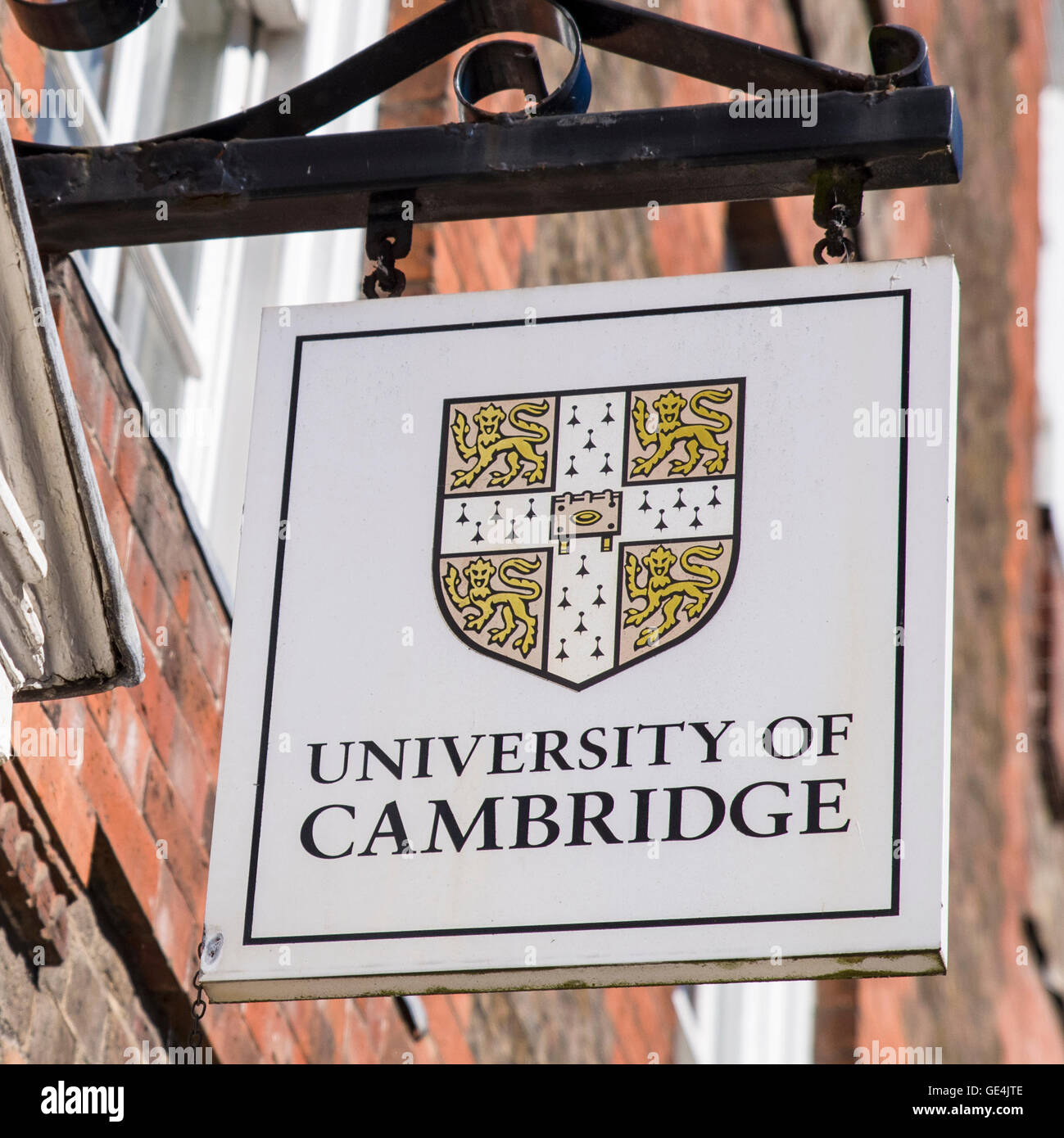 CAMBRIDGE, UK - JULY 18TH 2016: A University of Cambridge sign in central Cambridge, on 18th July 2016. Stock Photo