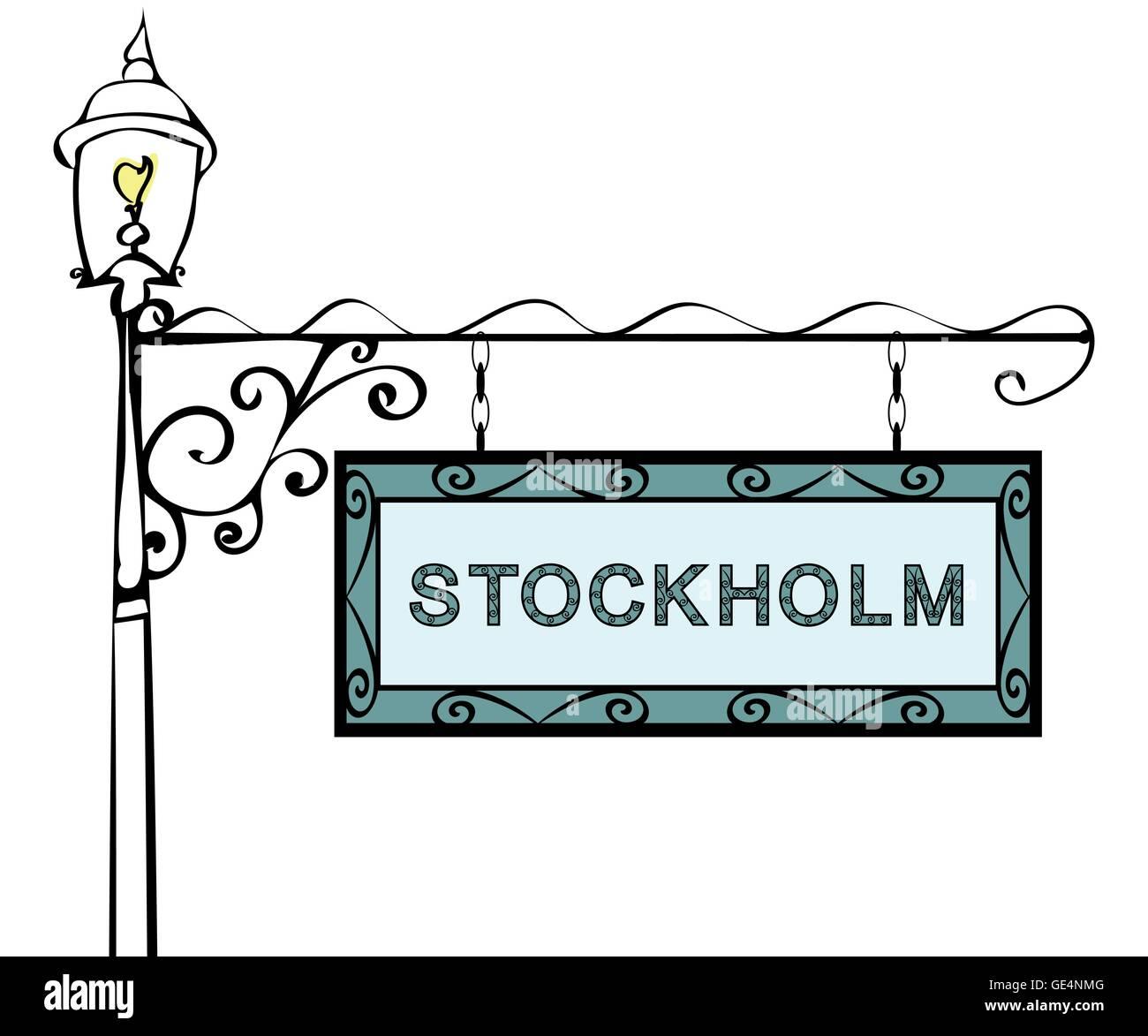 Stockholm retro pointer lamppost. - Stock Image
