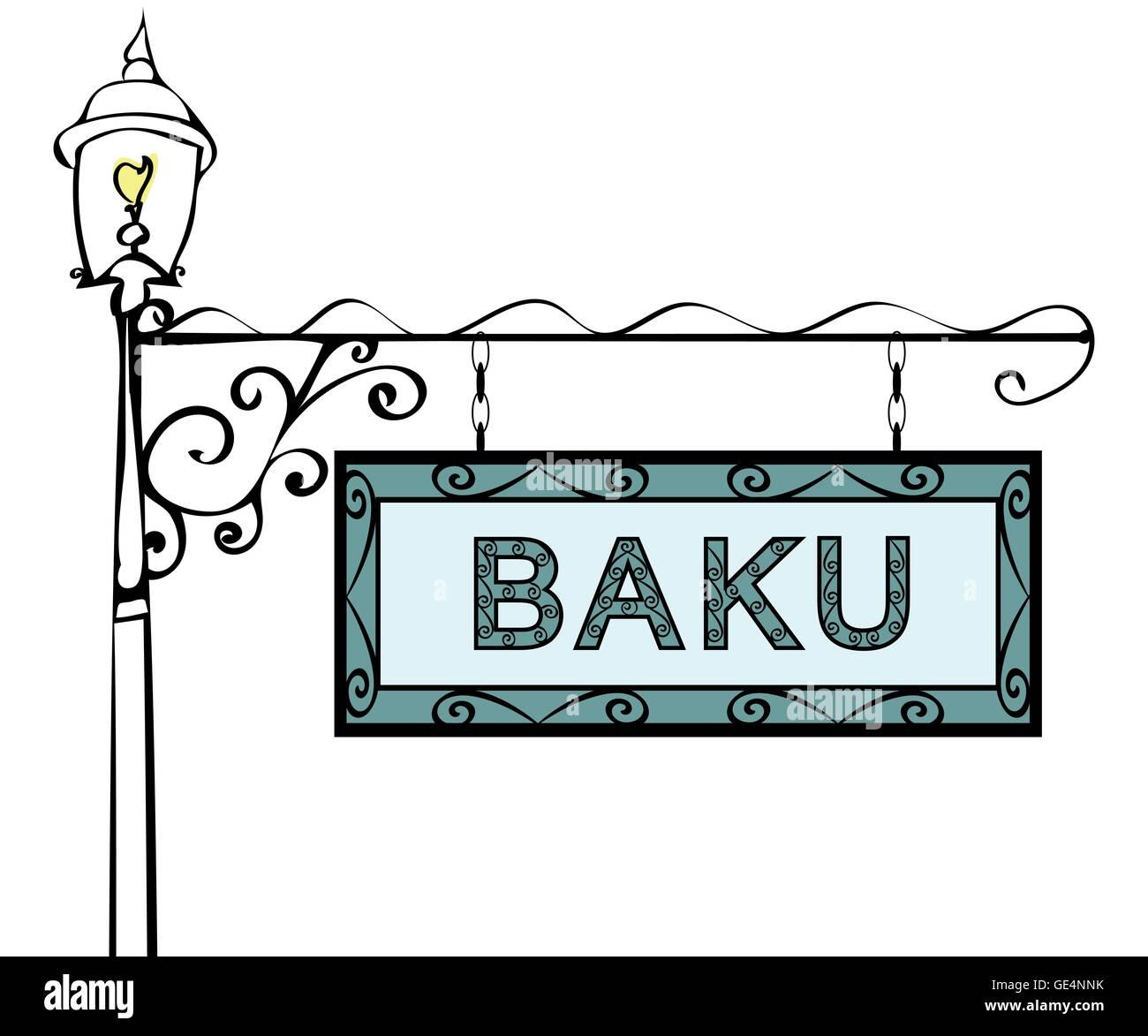 Baku retro pointer lamppost. - Stock Vector