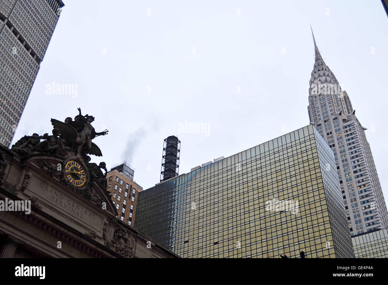 Grand Central Terminus and the Chrysler Building, New York City, New York, USA - Stock Image
